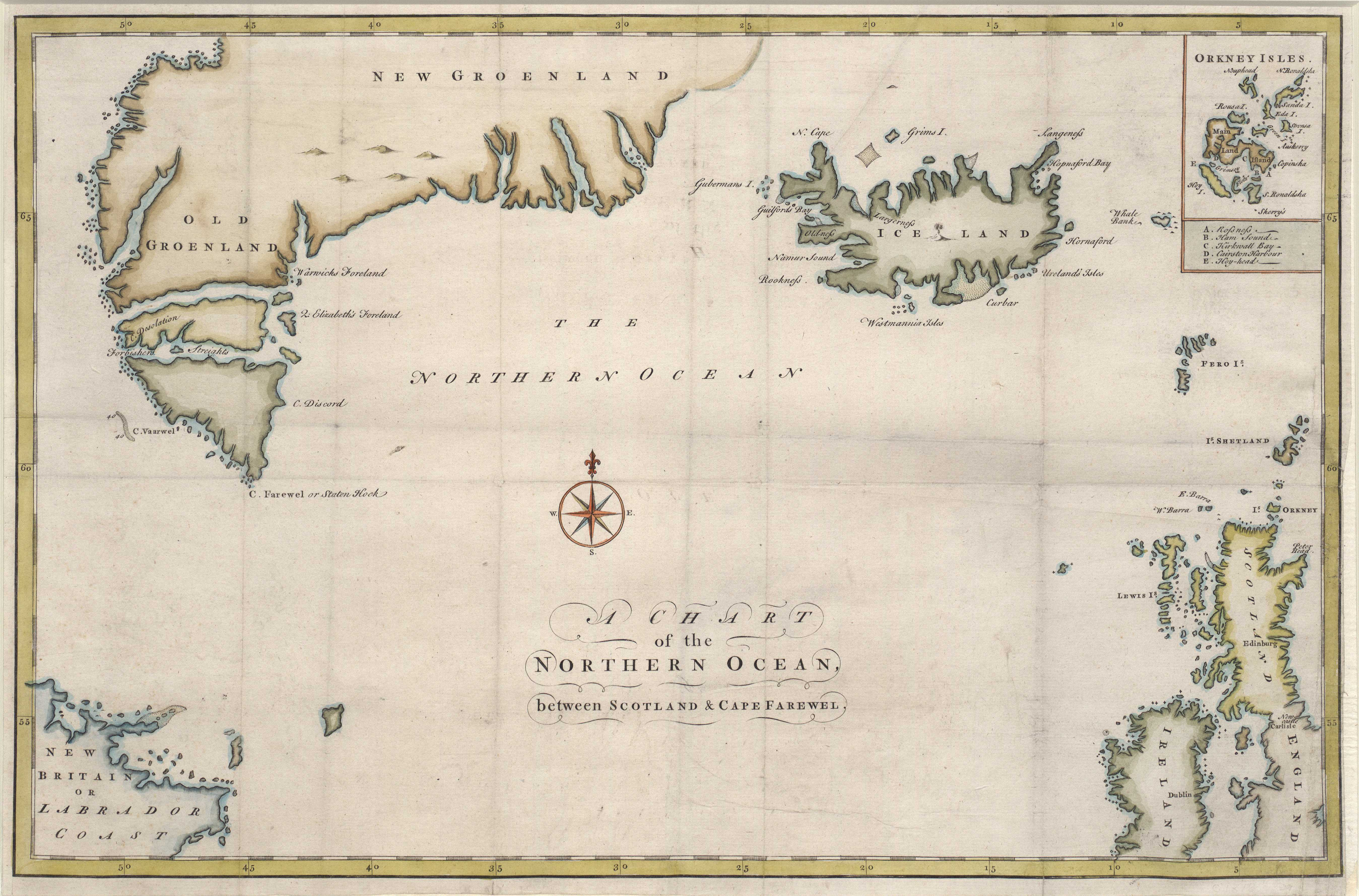 A Chart of the Northern Ocean, between Scotland & Cape Farewel