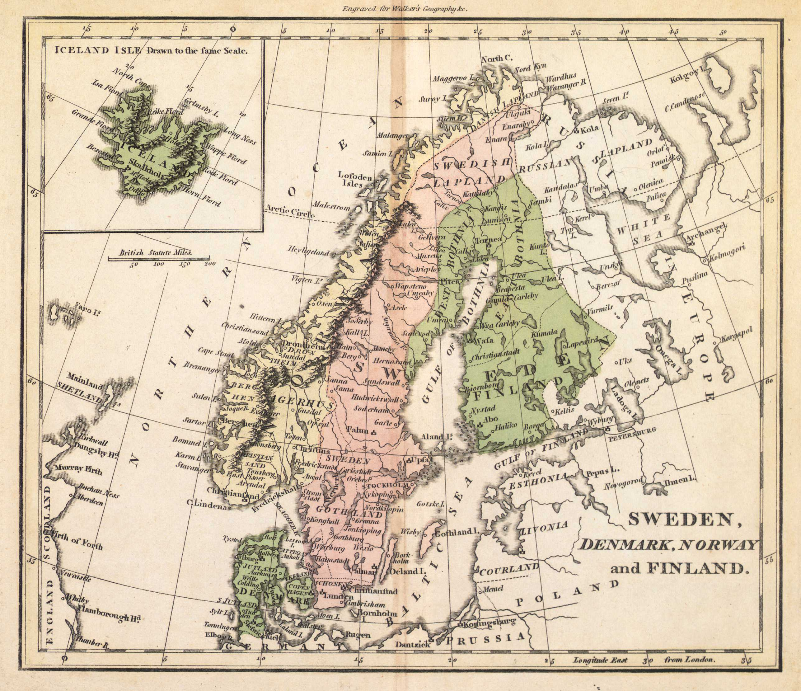 Sweden Denmark Norway And Finland Íslandskortis - Sweden map 1800