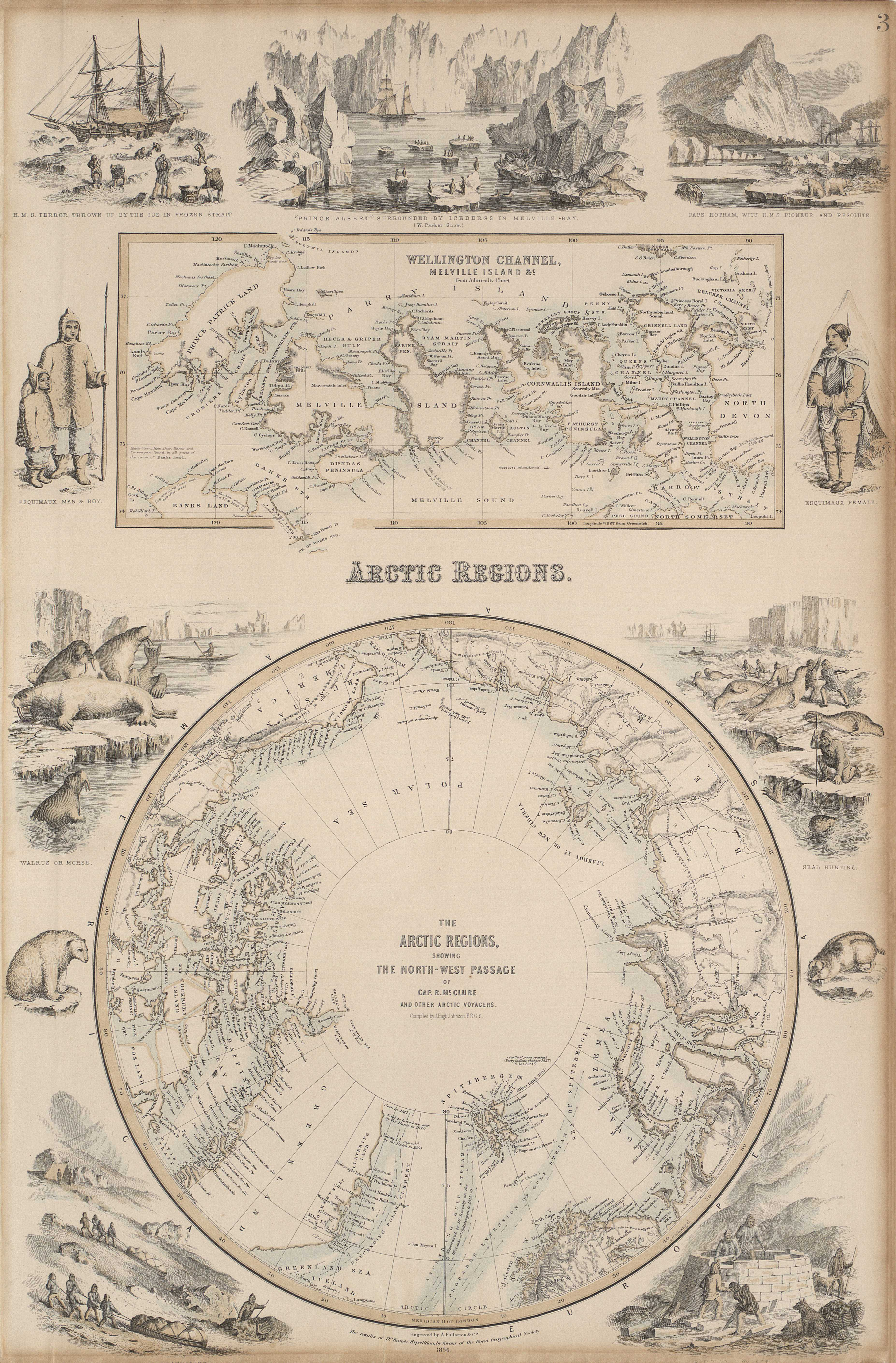 The Arctic regions, showing the northwest passage of cap. R. McClure and other Arctic voyages